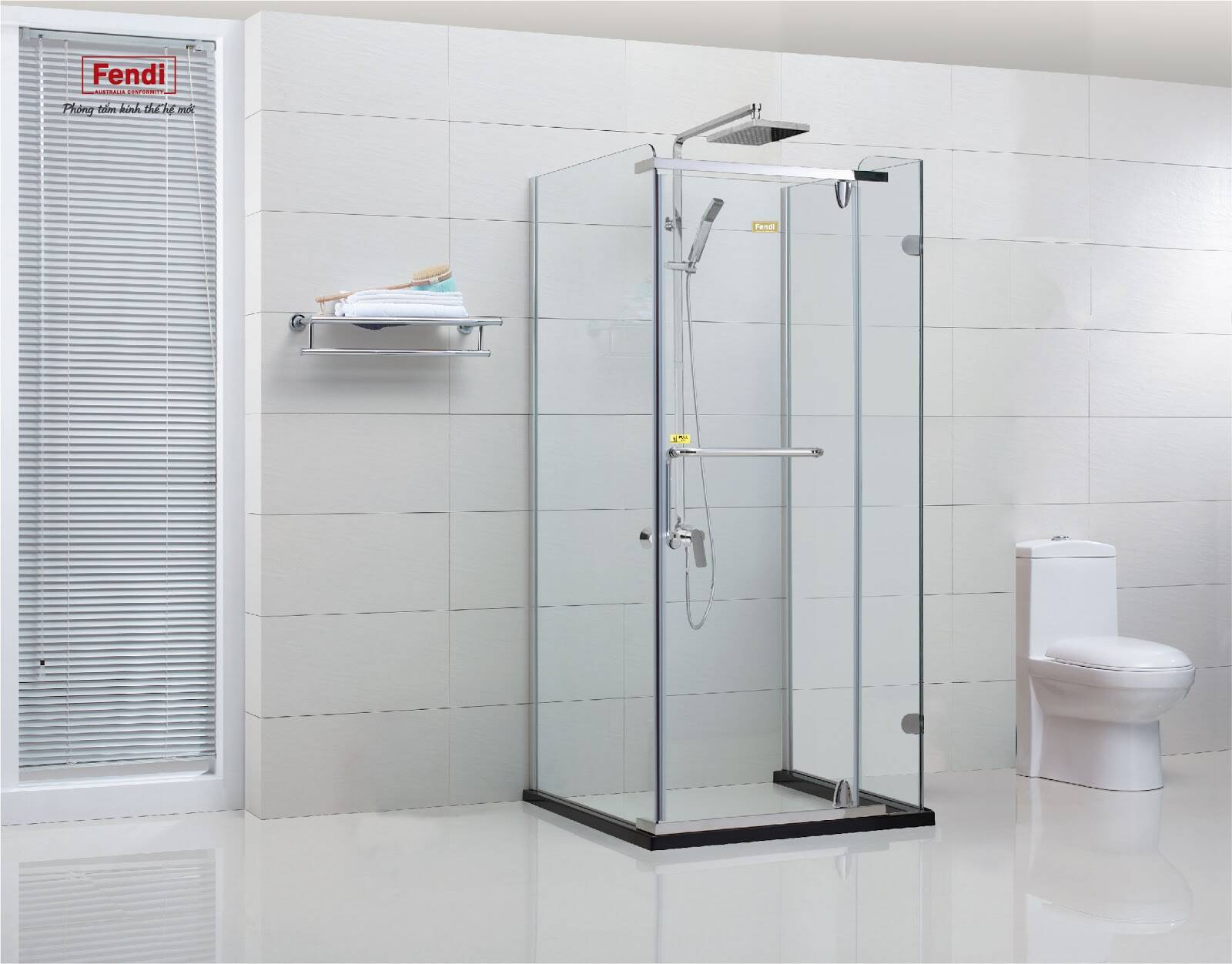 Phòng tắm kính Fendi sử dụng phụ kiện đồng bộ cao cấp, được thiết kế hợp lý đóng mở nhẹ nhàng dễ dàng, không rung lắc
