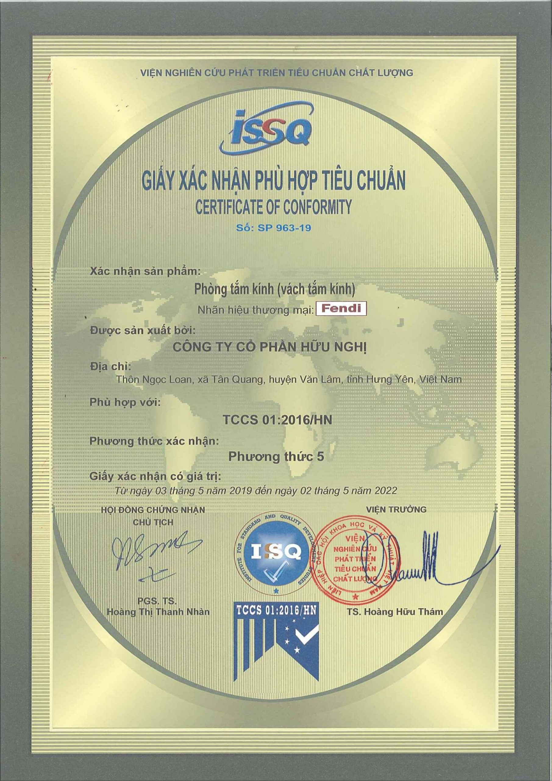 Các tiêu chuẩn phòng tắm kính mà Fendi đã đạt được: hợp chuẩn Úc, TCCS và Iso