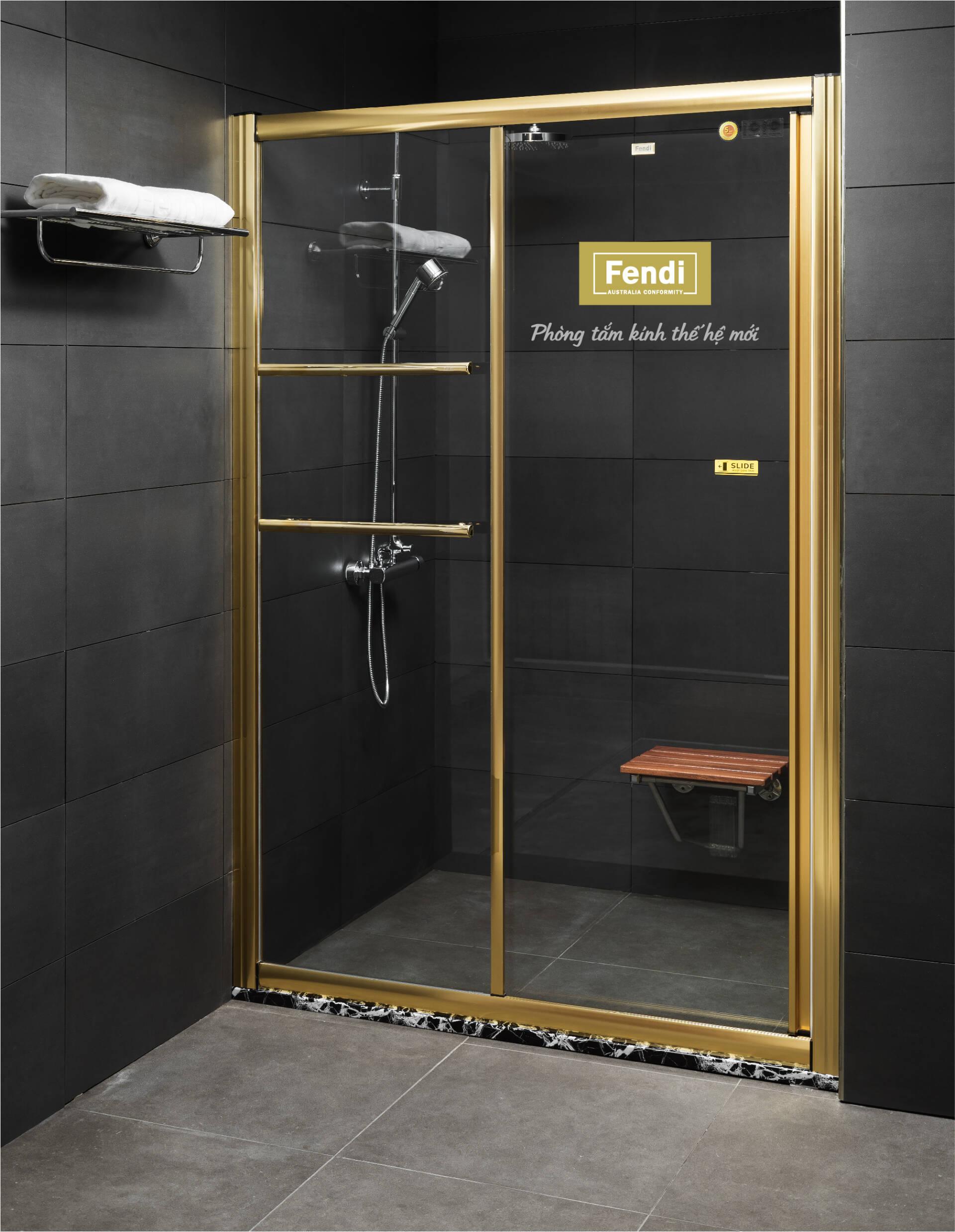 Phòng tắm diện tích nhỏ có thể thiết kế phòng tắm kính cửa lùa để tiết kiệm không gian