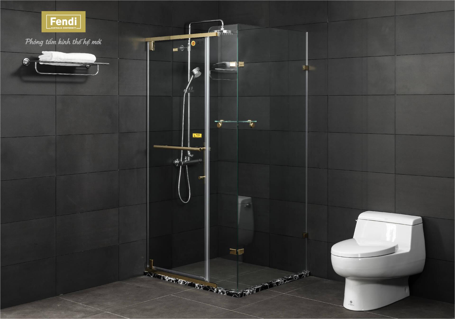 Thương hiệu phòng tắm kính Fendi cung cấp đa dạng các độ dày kính là 6mm, 8mm, 10mm, phù hợp với nhiều không gian nhà ở Việt