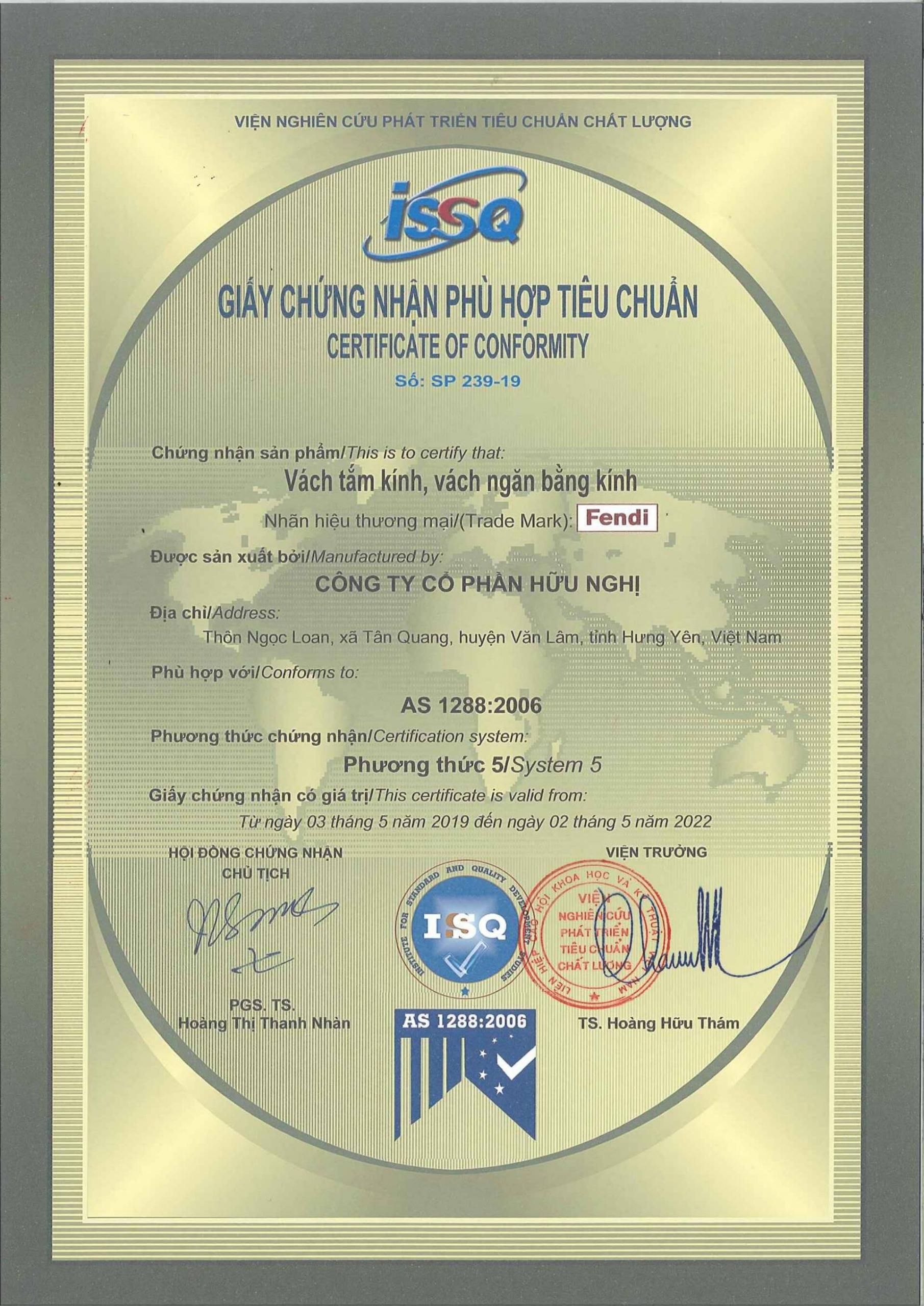 Phòng tắm kính Fendi được Tổng cục đo lường chất lượng Việt Nam xác nhận sản xuất theo tiêu chuẩn Úc AS 1288:2006