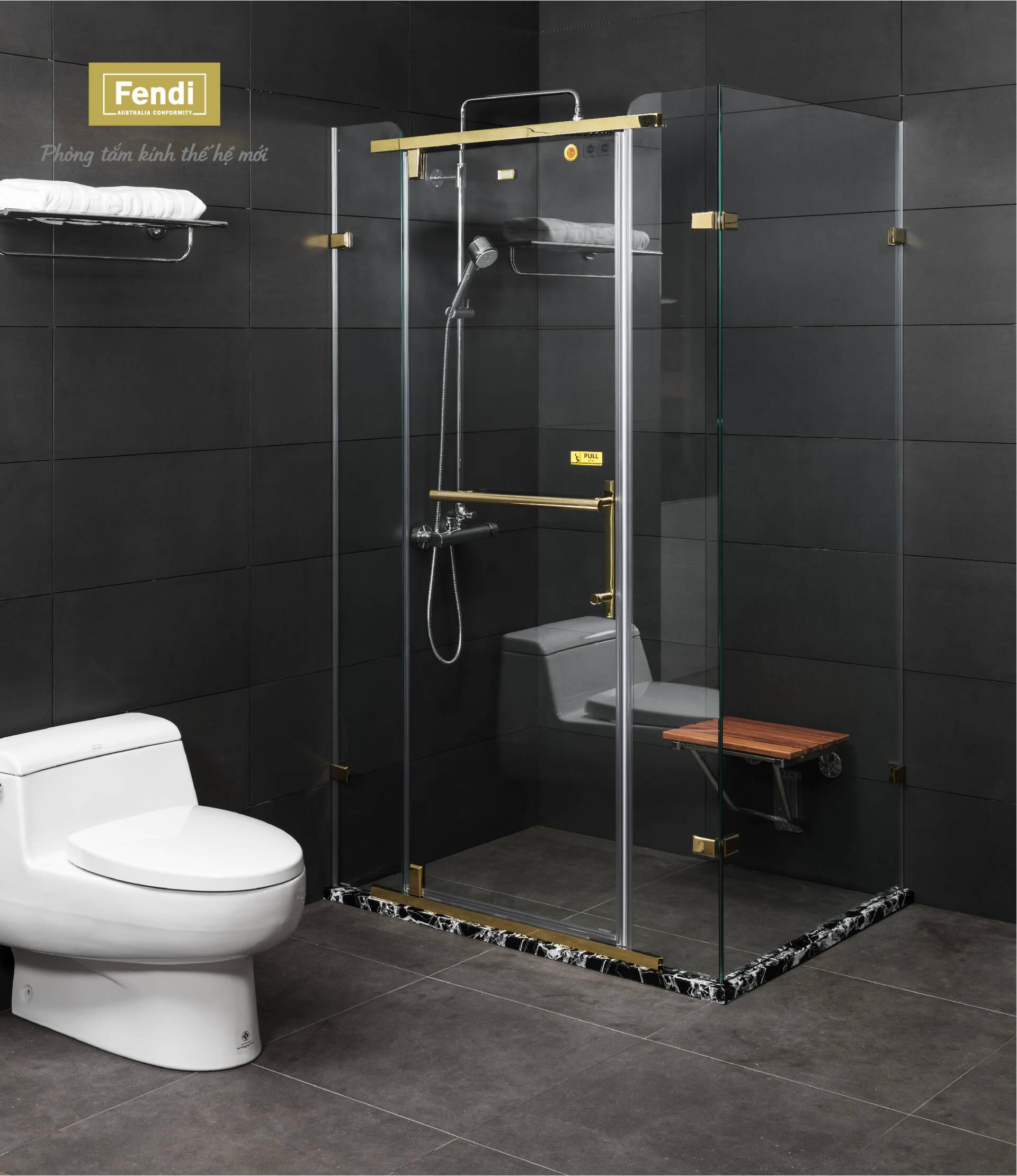 Phòng tắm kính Fendi sử dụng diềm vân đá